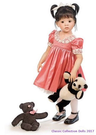 Tian Yu  Resin Doll With Black Bear Hildegard Gunzel 2017 Collection